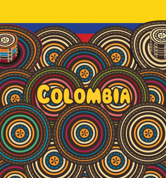 kolumbien-sombrero vueltiao - cartagena stock-grafiken, -clipart, -cartoons und -symbole