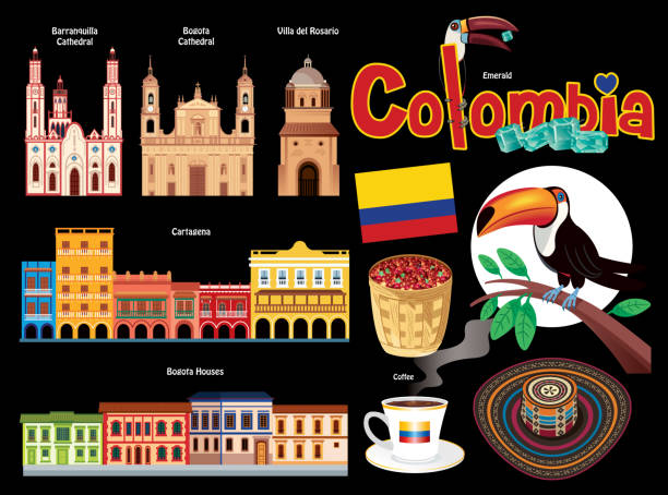 kolumbien-symbole - cartagena stock-grafiken, -clipart, -cartoons und -symbole