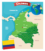 Cartoon map of Colombia  Earth I have used  http://legacy.lib.utexas.edu/maps/world_maps/world_physical_2015.pdf http://legacy.lib.utexas.edu/maps/americas/colombia_physio-2008.jpg address as the reference to draw the basic map outlines with Illustrator CS5 software, other themes were created by  myself.