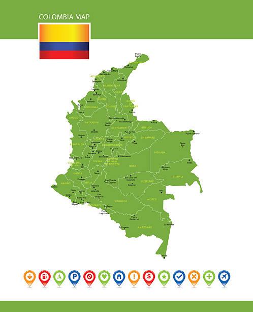 colombia vector map - cartagena stock-grafiken, -clipart, -cartoons und -symbole