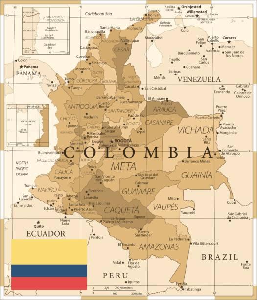 25 - kolumbien - vintage golden 10 - bucaramanga stock-grafiken, -clipart, -cartoons und -symbole