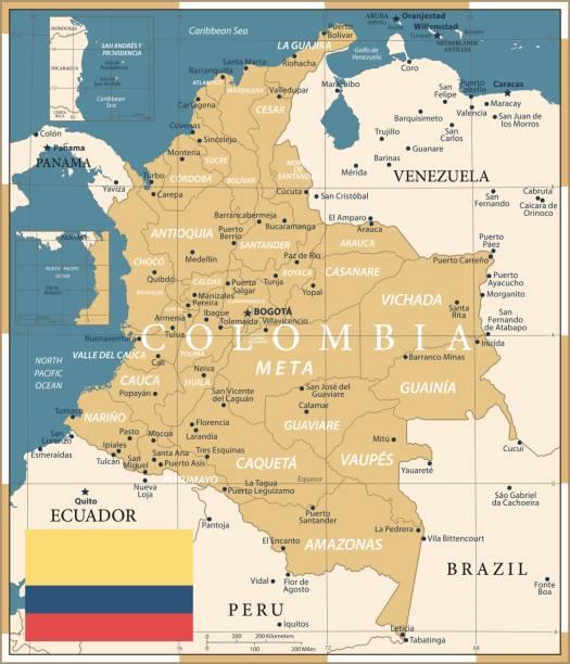 22 - kolumbien - vintage golden dark 10 - bucaramanga stock-grafiken, -clipart, -cartoons und -symbole
