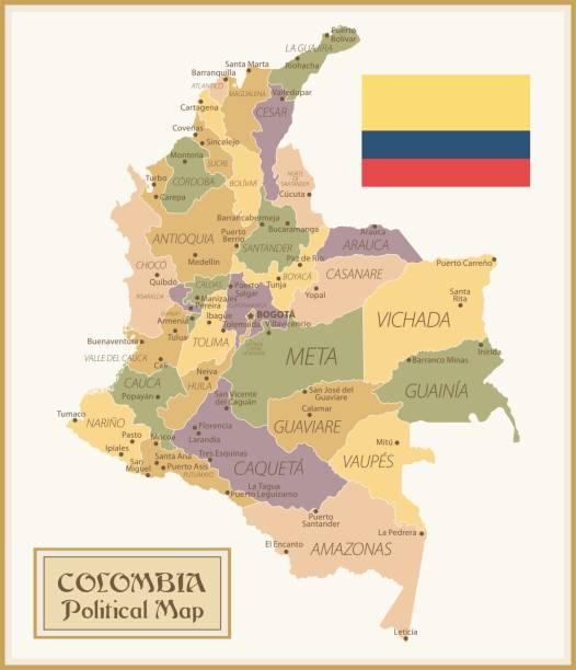 36 - kolumbien - vintage isoliert q10 - bucaramanga stock-grafiken, -clipart, -cartoons und -symbole