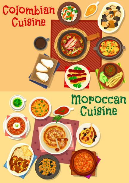 kolumbianische und marokkanische küche icon set-design - feigensalat stock-grafiken, -clipart, -cartoons und -symbole