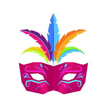 Colombina Carnival Mask with Feathers Flat Vector