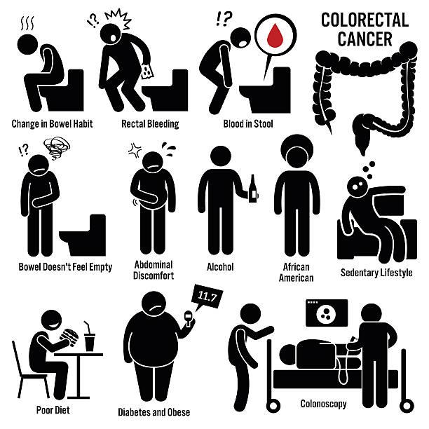 colon rectal colorectal cancer illustrations - cancer patient stock illustrations