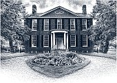 Etching illustration of a beautiful Colonial Home.
