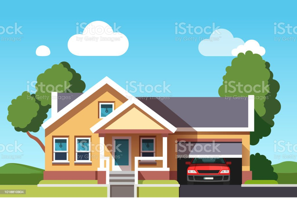 colonial neo classical architecture style building house with car