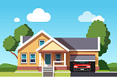 Colonial neo classical architecture style building. House with car garage template. Flat style vector
