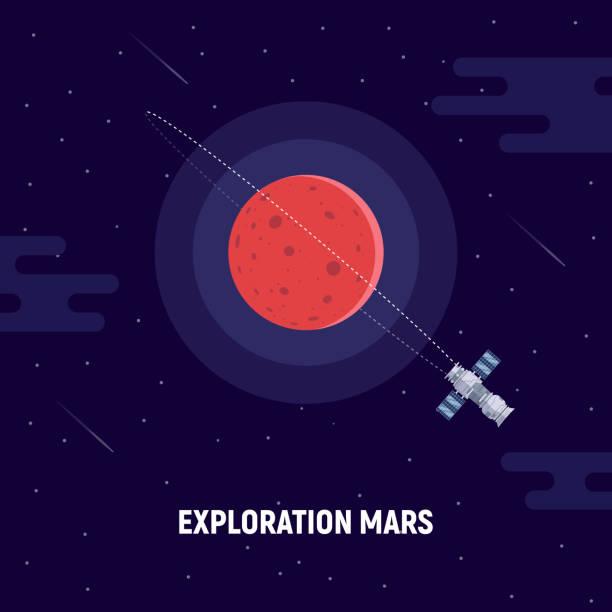 illustrations, cliparts, dessins animés et icônes de colonisation de mars. planète rouge et par satellite. illustration du concept d'une mission vers mars. - mars