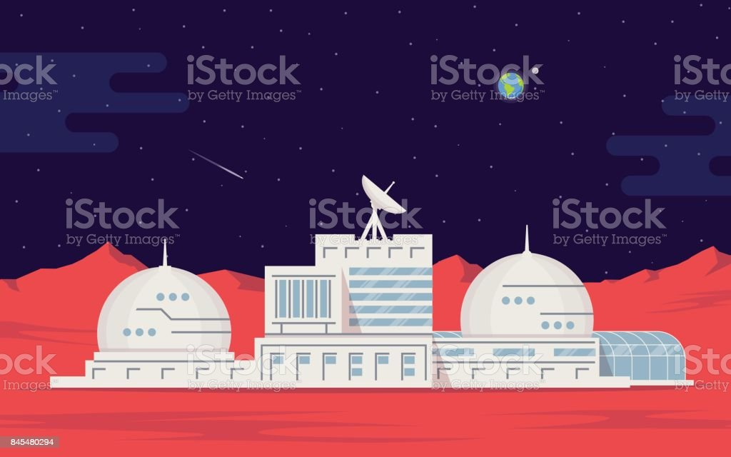 Colonization of Mars. Space base humans on the red planet. Space exploration and technology. vector art illustration