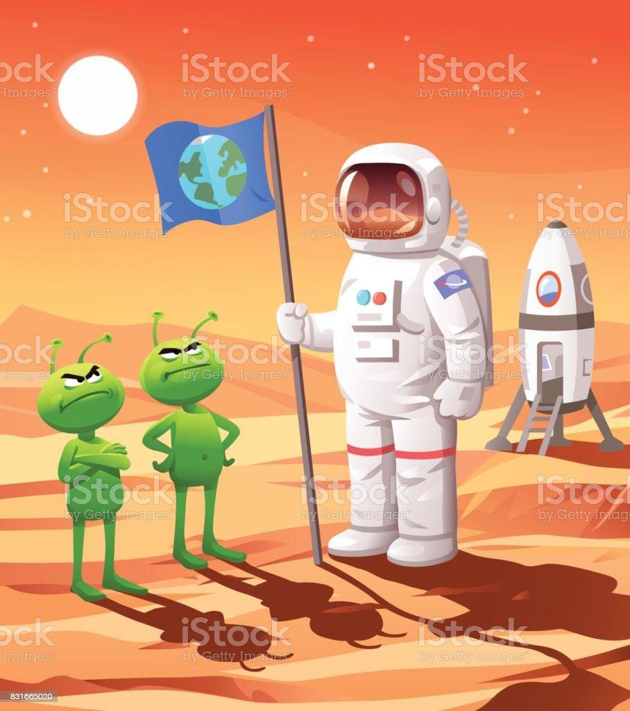 Colonisation de Mars - Illustration vectorielle