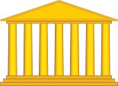 Colonnade illustration in yellow