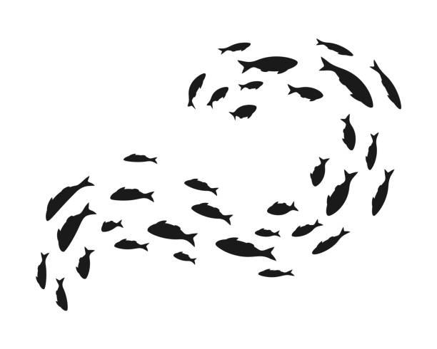 Colonie de baignade mer ou aquarium poissons. Groupe de silhouttes. - Illustration vectorielle