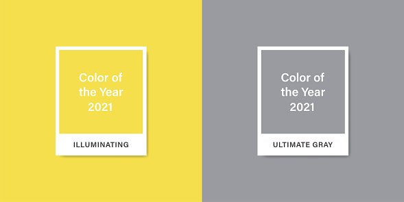 Color 2021. Color of the Year 2021. Ultimate Gray. Illuminating. Stock vector mockup template. EPS 10
