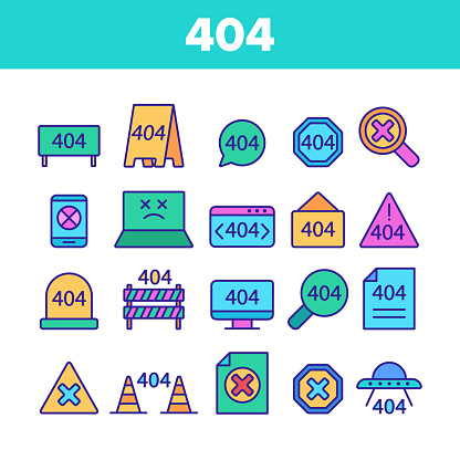 Color 404 HTTP Error Message Vector Linear Icons Set