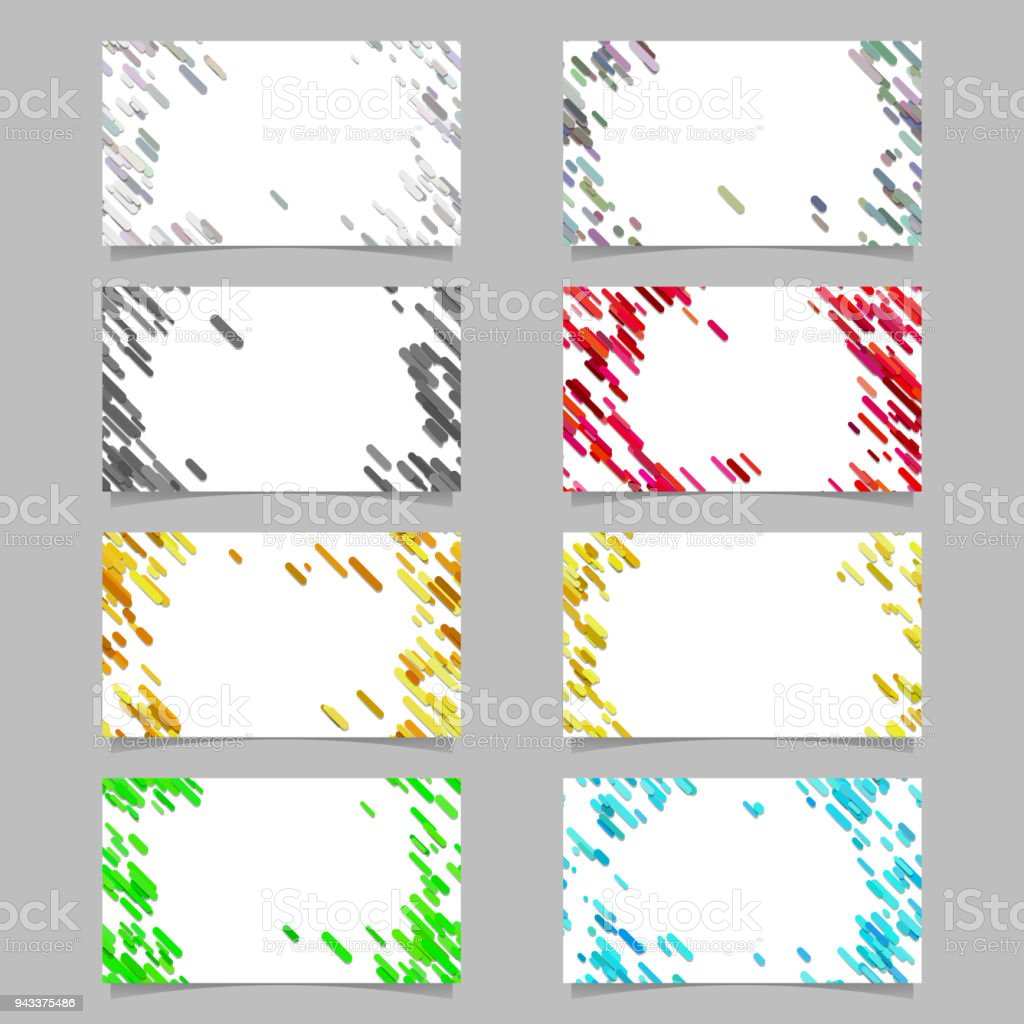 Color Abstract Business Card Background Set With Diagonal Stripes ...