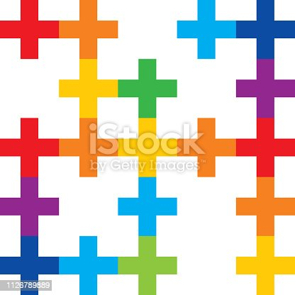 Vector seamless pattern of connected colorful crosses on a white background.