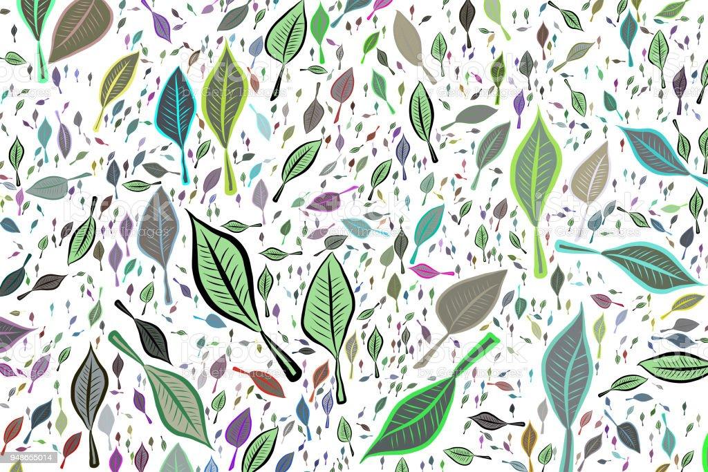 Farbe Abstract Verlässt Zeichnung Muster Generative Kunst Hintergrund.  Dekoration, Design, Stil U0026 Tapete