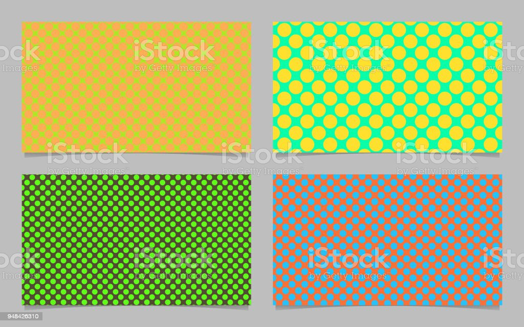 Color Abstract Polka Dot Pattern Business Card Background Set Vector ...