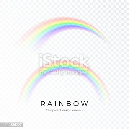 Color Abstract Rainbow. Fantasy art design Spectrum of light, seven colors. Vector illustration isolated on transparent background