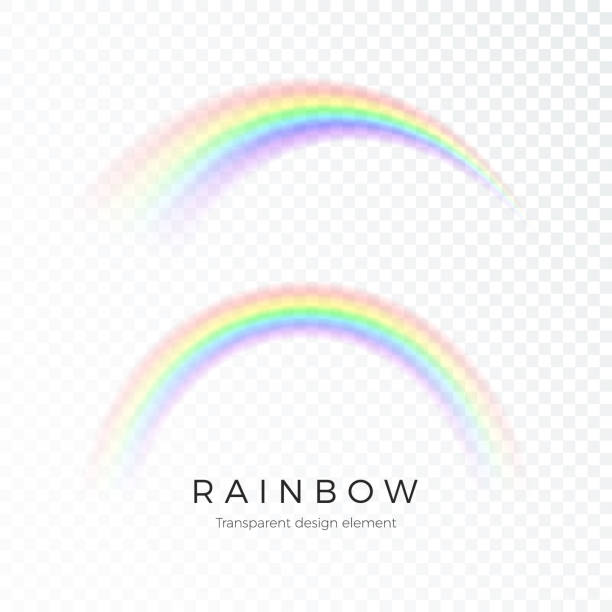 color abstract rainbow. fantasy art design spectrum of light, seven colors. vector illustration isolated on transparent background - tęcza stock illustrations