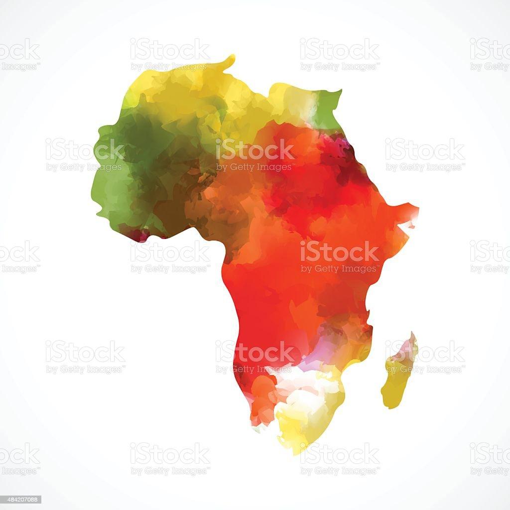 color Africa map vector art illustration