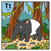 Color alphabet for children, letter T (tapir)