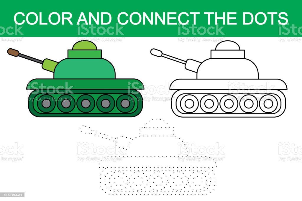 Renk Ve Resim Karikatür Tank Noktaları Birleştir Vektör Stok Vektör
