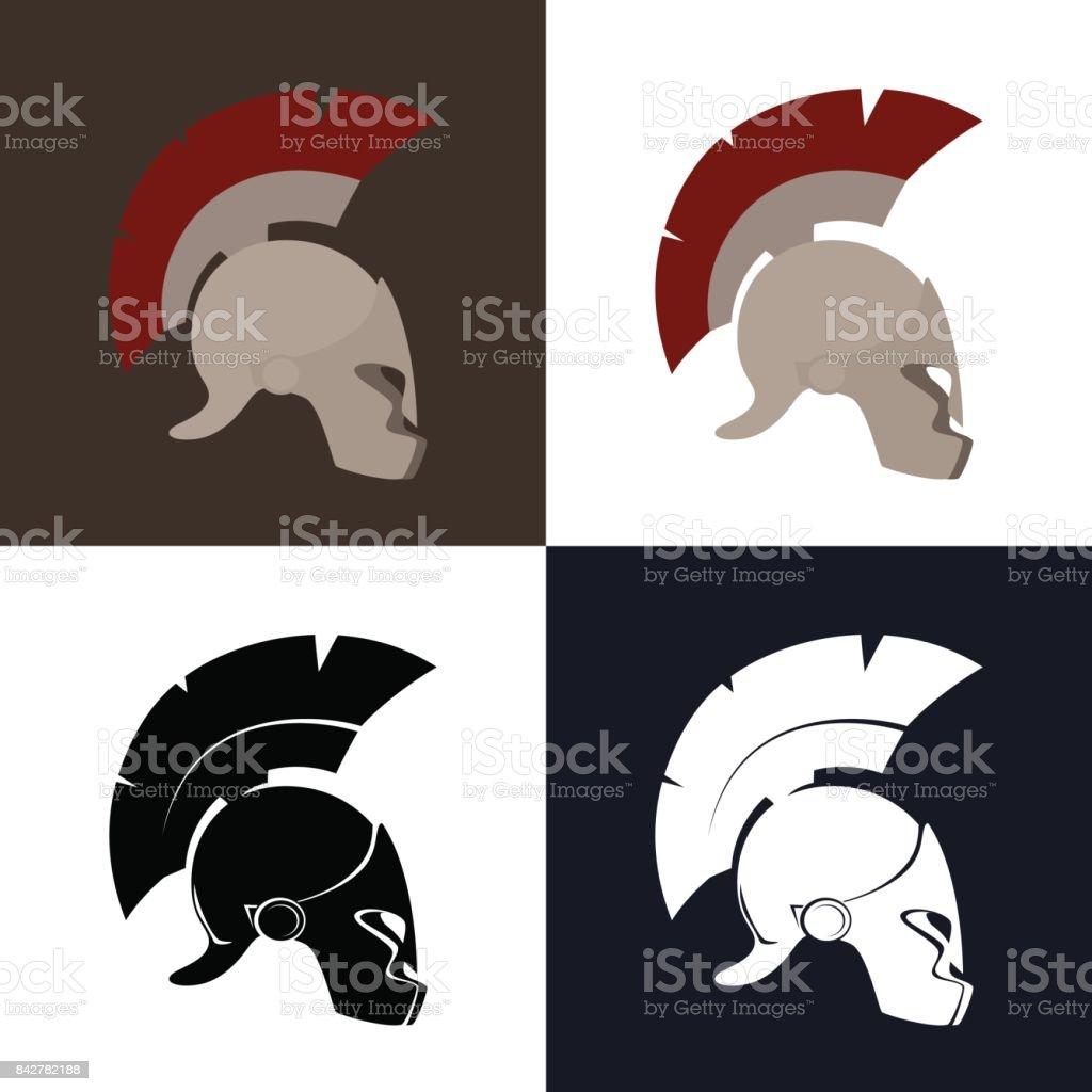 Color and Silhouette Roman Helmet vector art illustration