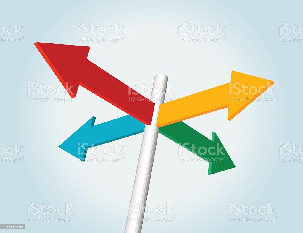 color arrow sign vector art illustration