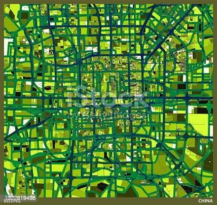 istock color art Illustration style map,Beijing,China 1322819498