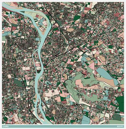 color art illustration style map,Cairo city,Egypt