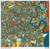 color art illustration style map,Ho Chi Minh city(Saigon),Vietnam