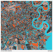 color art illustration style map,Ho Chi Minh city(Saigon),Vietnam.map data Made with Natural Earth.
