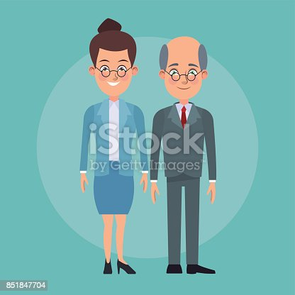 istock color background full body couple of woman collected hairstyle and elderly bald man with formal suit characters for business 851847704