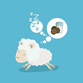 color background of cute sheep thinking in the milk and cookies drems vector illustration