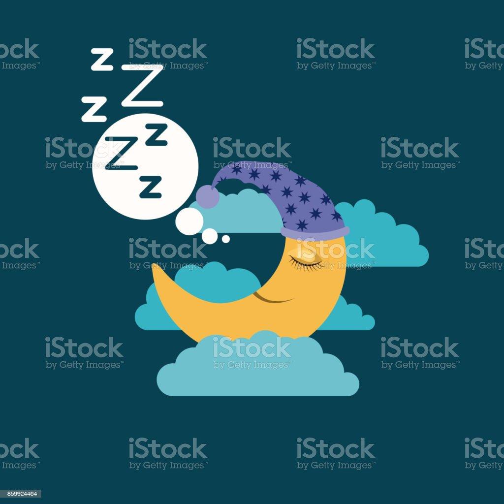 fond de couleur de lune avec couchage cap rêver dans le paysage de nuit - Illustration vectorielle