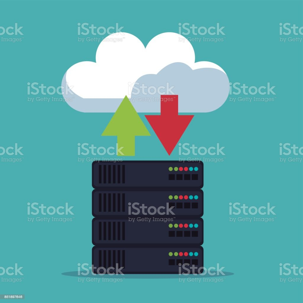 color background of server box with cloud storage vector art illustration