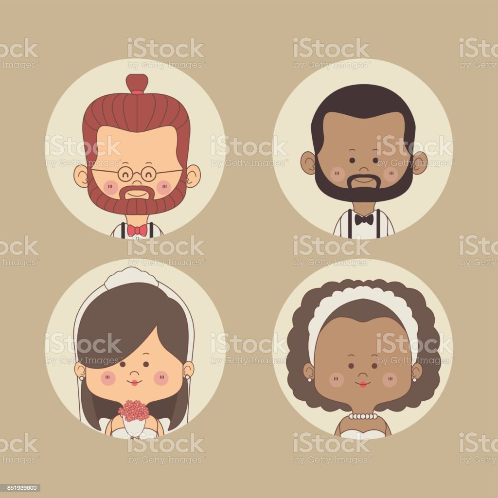 color background of set half body bride and groom with red hair and other brunette in circular frame vector art illustration