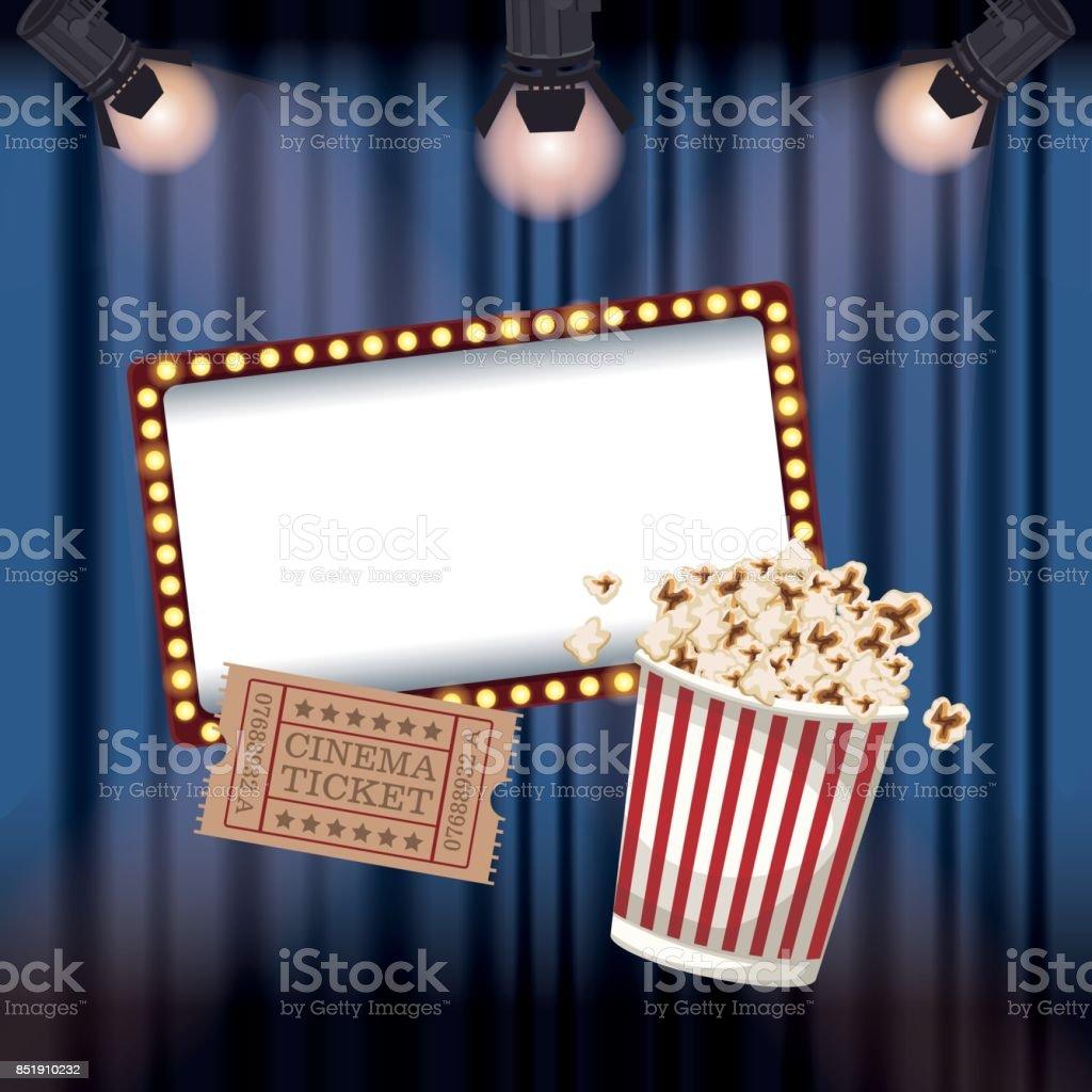 Farbe Hintergrund Kino Vorhang Mit Strahlern Ticket Film Und Popcorn ...