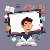 color background with chalk board and boy student with book in learning with elements school