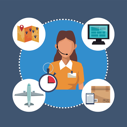 color background with circular frame of icons storage logistics and closeup secretary with auricular diadem