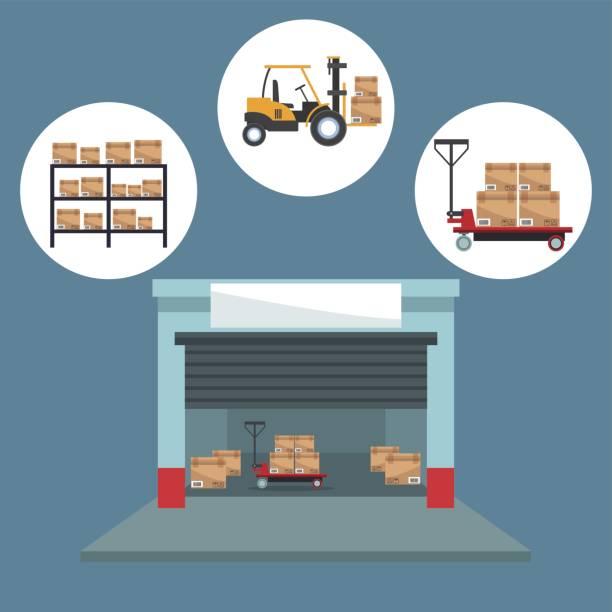 farbe hintergrund mit kreisförmigen rahmen der ikonen lagerung logistik und closeup lagerhaltung - kastenständer stock-grafiken, -clipart, -cartoons und -symbole