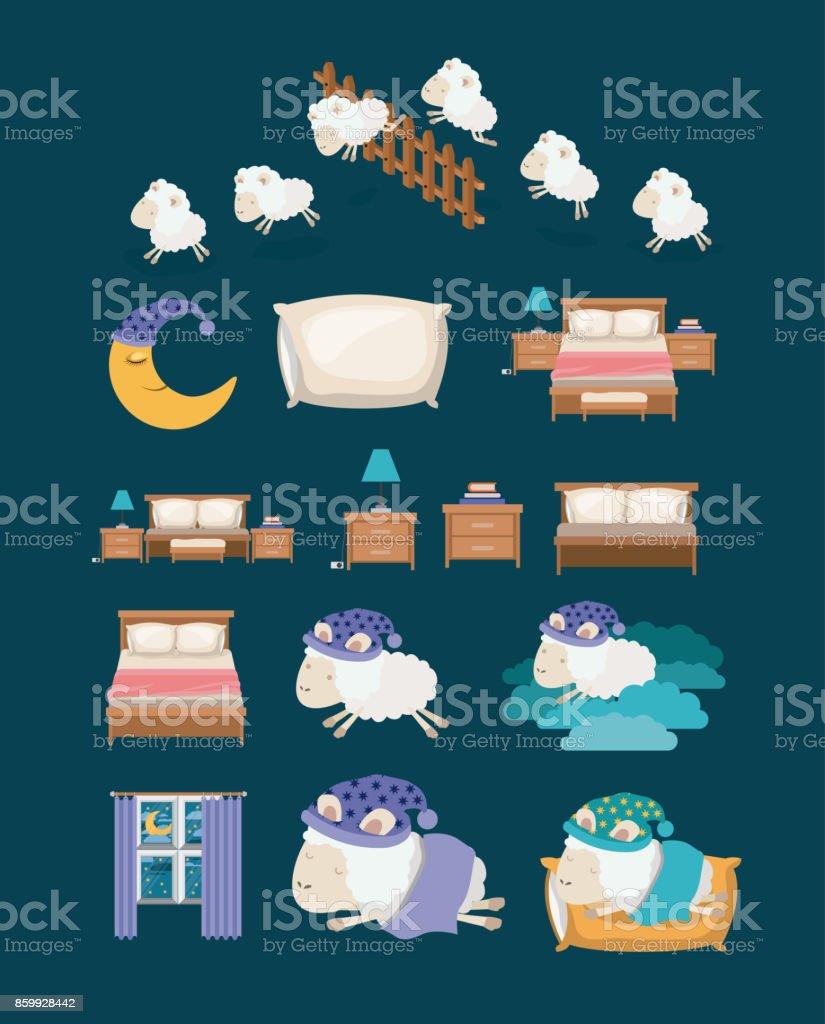 Fondo de color con elementos coloridos sueño tiempo - ilustración de arte vectorial