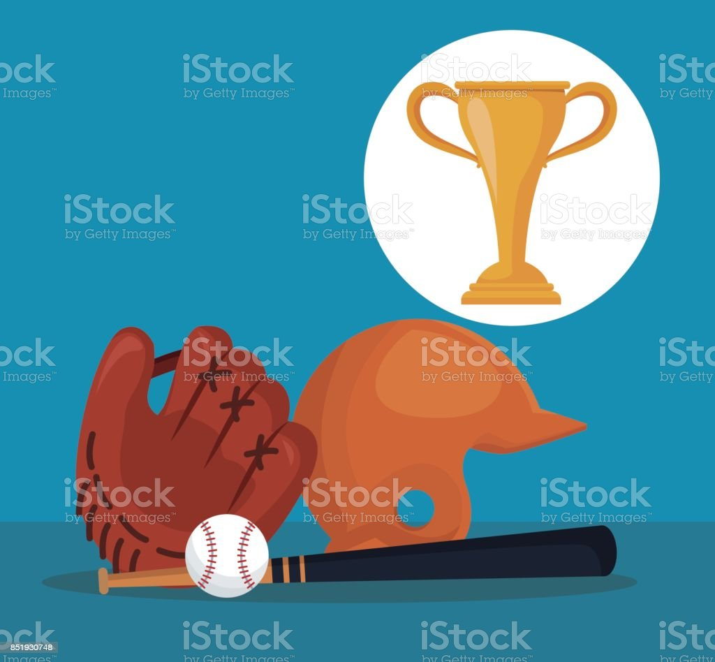 304655d36091 color background with elements baseball sport with circular frame cup  trophy royalty-free color background