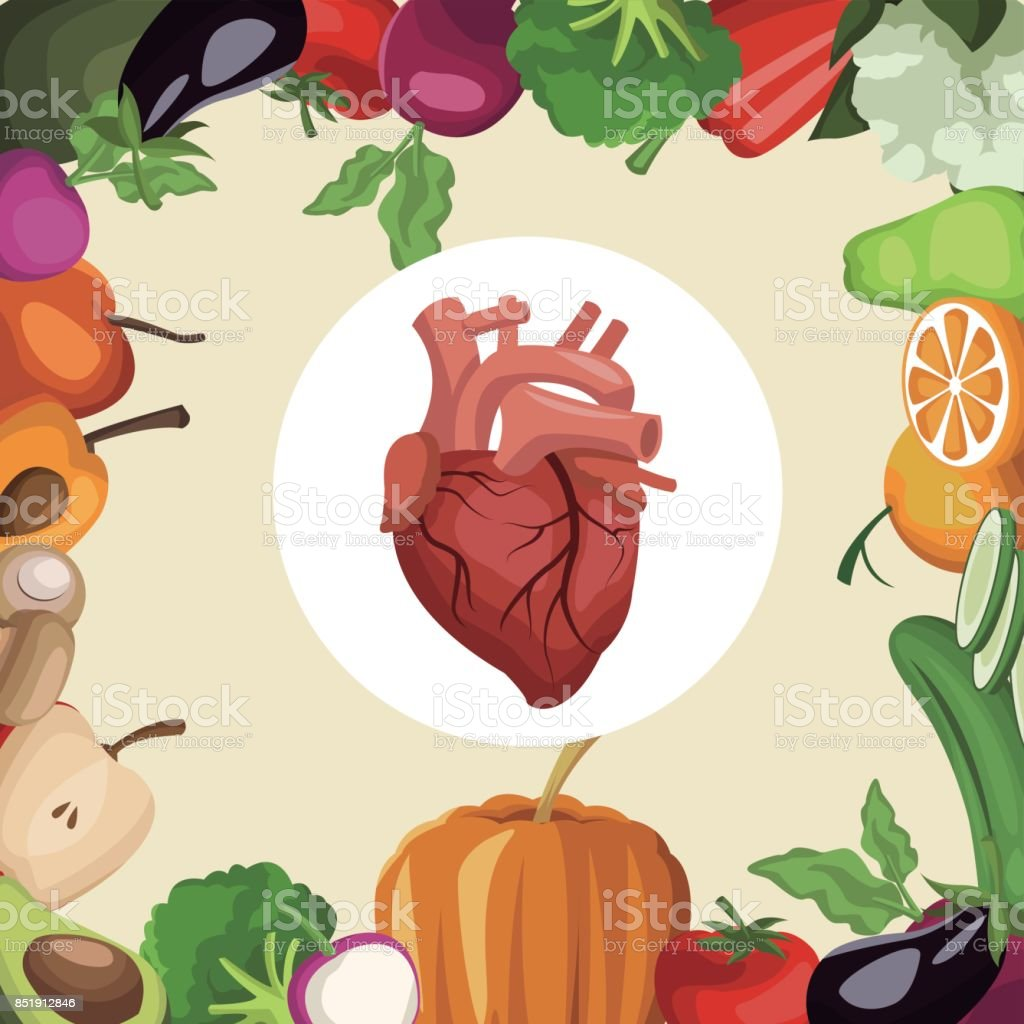 color background with frame vegetables and fruits healthy food to