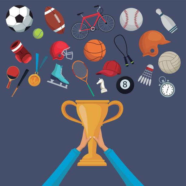 color background with hands holding a golden trophy cup and set collection elements sport vector art illustration