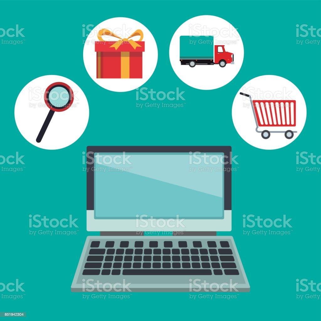 Farbigen Hintergrund Mit Laptopcomputer Und Onlineshopping Elemente ...