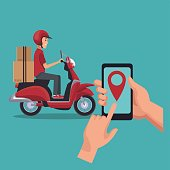 color background with man worker in scooter and smartphone location vector illustration